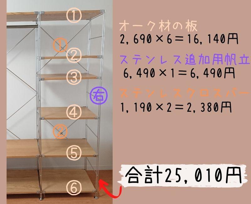 【幅58cm追加分】無印良品ステンレスユニットシェルフのお値段