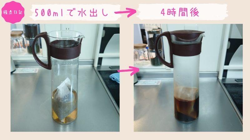 無印良品 ノンカフェイン水出しコーヒーバッグ 抽出後