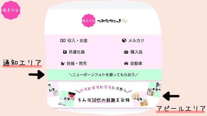 主婦ブログ_通知エリアとアピールエリアの設定【Cocoon】